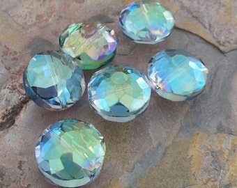 6 Round Disc Faceted Glass Crystal Beads, Blue Green, Cornflower Blue, AB Finish, 14mm