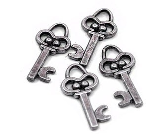 8 Silver Key Charms | Key Pendant, Silver Key Pendant, Key Jewelry, Small Key Charm, Skeleton Key