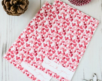 Red and White Love Heart Thank You Cards and Tags