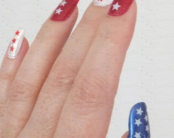 Red, White and Blue Star Nail Stickers