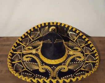 Vintage Sombrero Black Velvet and Gold Sequin Authentic Sombrero Marachi Hat