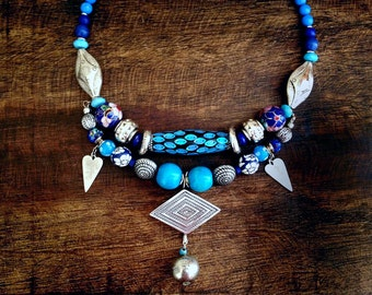 OOAK Blue and Silver Beads Bib Necklace