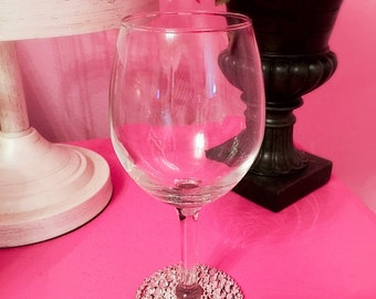 Rhinestone Wine Glass/ Swarovski Crystal Rhinestone Wine Glass/ Wedding Wine Glass