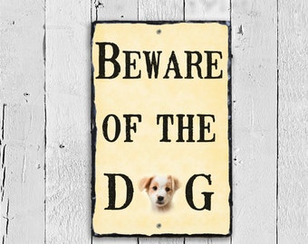 Beware of the Dog Sign, Customized beware of Dog Plaque, Dog Lovers Sign, Pet Sign, Outdoor Sign, Outdoor Plaque, Slate Sign, Stone Plaque