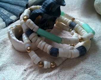 Set of three beach bracelets
