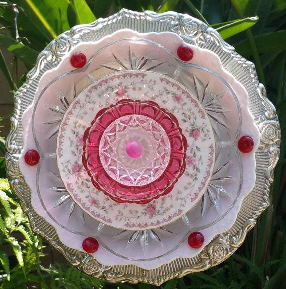 Plate Art Flower Suncatcher Garden Art Glass Plate Flower
