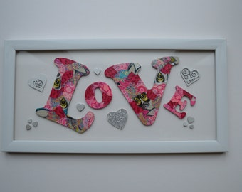 Love framed art, Wedding, Valentine or for anyone you Love, a lasting expression