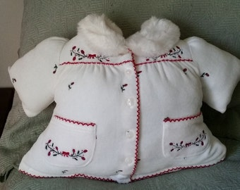 Infant Jacket Pillow with Roses and Pockets