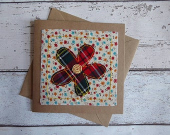 Tartan Flower Greetings Card- Scottish Card- Handmade - Birthday- Get Well