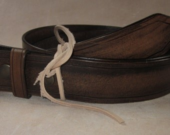 Leather belt with removable buckle.