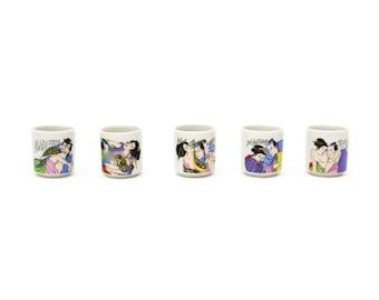 Hand Painted Provocative Japanese Sake Cups