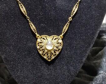 Signed 1928 Gold Filagree and Rhinestone Necklace - Vintage 1928 Gold Filagree Rhinestone Necklace - Costume Jewelry - Fashion Jewelry