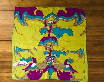 Vintage Designer 1960s Silk and Rayon Chereskin Print Scarf of  Psychedelic Kissing Couples