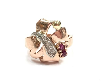 Vintage 1940s Abstract 14K Solid Pink or Rose Gold Ring with Rubies Diamond and Yellow Gold Accent
