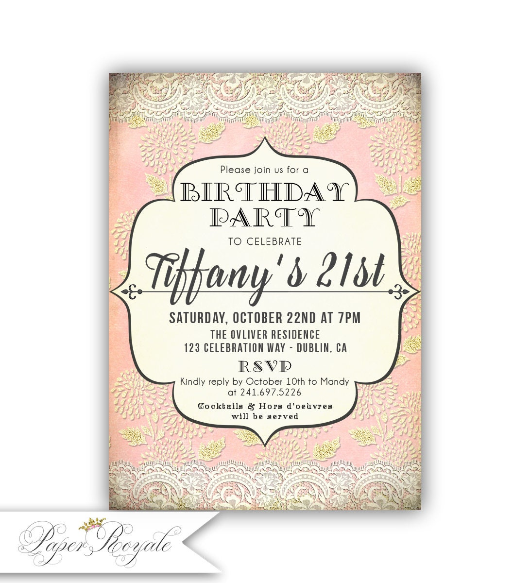 21st Birthday Invitations, Adult Woman 21st Birthday Party ...