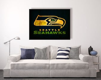 Seattle Seahawks vintage style Canvas Print, vintage football decor, football room decor, room decor for men, apartment decorating ideas
