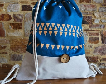 Boho gym bags, petrol, blue, backpack, upcycling, bag