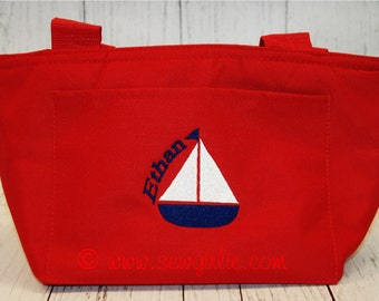 Monogrammed Sail Boat Lunch Tote