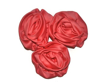 3 Satin Rosette Flowers, Coral Fabric Roses, Wholesale Flowers, Headband Supplies, DIY Mixed Flowers, #1