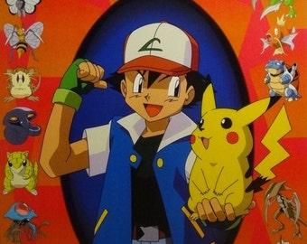 Pokemon 23x35 Ash & Pikachu Red Poster Nintendo