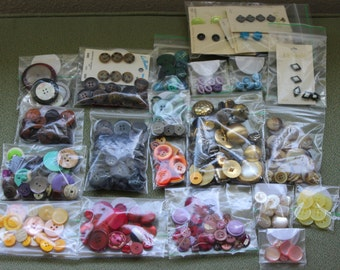 Buttons Lot of 200 Plus Buttons ATC DIY Various Colors Different Sizes Colors and Shapes Some Still on Cards All in Excellent Condition