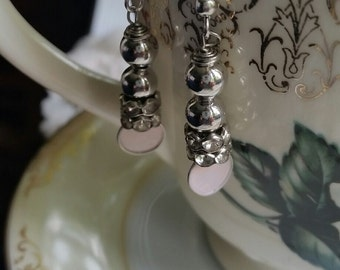 Silver and Pale Pink Drop Earrings