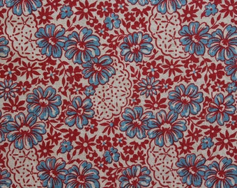 Multiples Avail of 1940's Full Feed Sack Vintage Fabric / Red & Light Blue Flowers on White Background