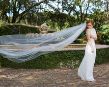 "Wedding veil, elegant bridal cathedral 112"" veil with 32'' blusher attached, double tier ""Eloise"""