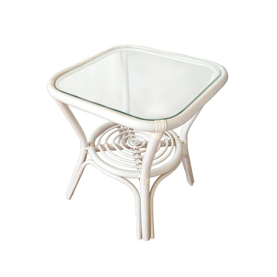Rattan Coffee Table Etsy: Rattan Square Coffee End Table Model Helena 19 With