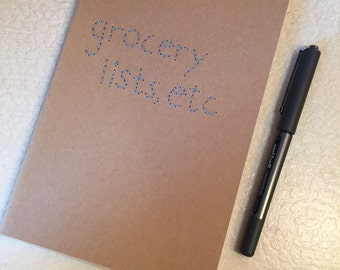 Grocery Lists, Etc. Embroidered Notebook