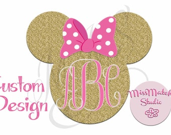 Gold Pink Glitter Monogram Custom ANY Name Mickey Mouse Head Disney Family Download Iron On Craft Digital Disney Cruise Line Magnet Shirts
