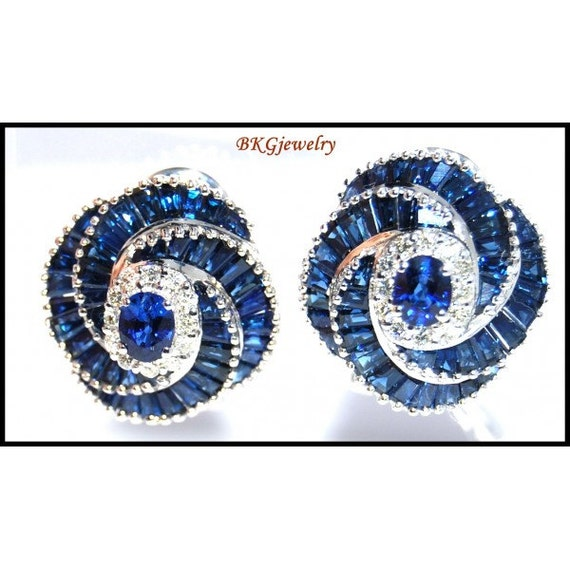 Blue sapphire diamond eternity earrings 18k white gold e0037 for Sapphire studios jewelry reviews