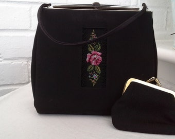 1950s  Embroidered  Evening Bag