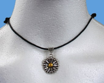 Tibetan silver yellow centre sunflower daisy pendant charm with bail/bale on adjustable black waxed cord necklace choker (chocker)