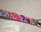 My Little Pony Inspired Pink Wristlet Lanyard / Key Chain Fob
