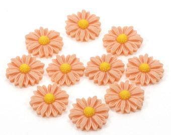 Resin Flowers, Flower Flatbacks, Flower Applique, Flower Embellishments, Large Sunflowers, Peach Flowers, Daisy Flatbacks, Peach Flatbacks