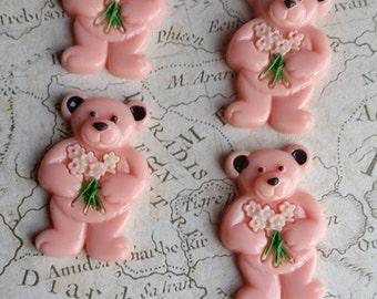 Bear Cabochon, Teddy Cabochon, Bear Kawaii, Teddy Flatbacks, Teddy Decorations, Pink Decoden, Pink Flatbacks, Large Pink Flatback, Pink Bear