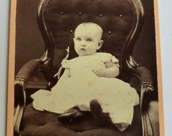 CDV Photo Big Chair Little Child Quirky Odd Photo