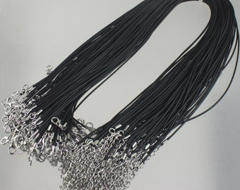 10 Black Necklace Cord 1.5mm 18-20 inch adjustable BLACK compressed cotton HIGH quality cord necklace - Ship from USA