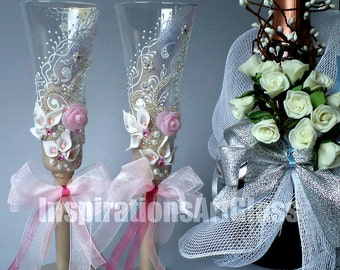 Light Pink Champagne Flutes, Painted Wedding Glasses, Romantic Style, Wine Glasses with roses, Set of 2
