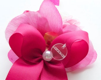 Triple Orchid Pompon and bow headband Fuchsia