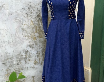 lightening steam dress co. seventies vintage denim and floral hippy dress | size 10 small
