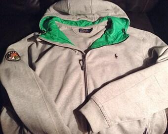 2XLT/XXL tall Polo ralph lauren zip front hoodie in heather grey with cookie patch crest
