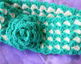 Crochet Flower Headband, Earwarmer, Turquoise and White