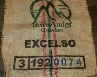 Sisal burlap coffee bean bag gunny sack fabric material craft product of Columbia vintage green Organic. Biodegradable