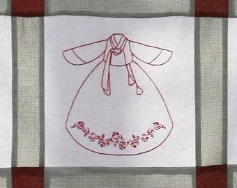 Redwork oriental embroidery designs : Hanbok (Korean Traditional Dress) No.11 - Instant Download