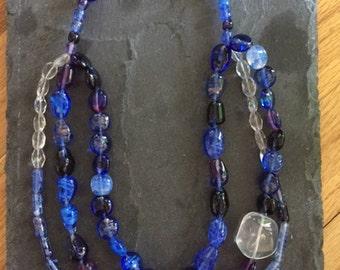 Quartz and Blue Czech Glass Triple Strand