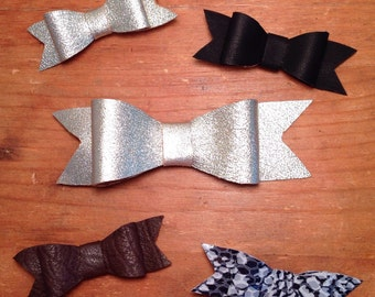 Leather bow, leather bow clip, leather bow headband, nylon elastic, baby bow, leather bow hair clip