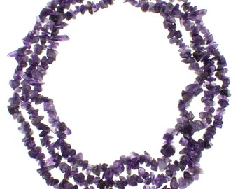 3-7mm Chips, Amethyst, Three Row, 18 Inches Long, Strand Necklace, with 925 Sterling Silver Clasp