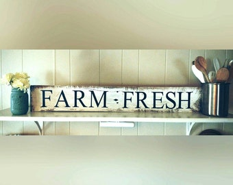 Rustic Style Farm Fresh Sign, Country Farm Decor, Shabby Chic Sign